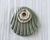 Handmade ceramic shell and ammonite pendant, ammonite pendant
