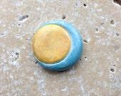 Simple sun and moon cabochon, stoneware cabochon