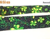 """Sale 50% Off St Patricks Dog Collar - Black with Green Clovers - """"Luck of the Irish"""" - NO EXTRA Charge for colored buckles"""