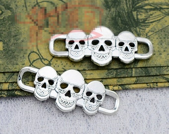 10pcs 16mm x 39mm Skull Connector Charms Antique Silver Tone - SC2240