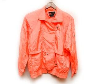 80s Neon Peach Orange Windbreaker Zip Up Jacket Men's Medium