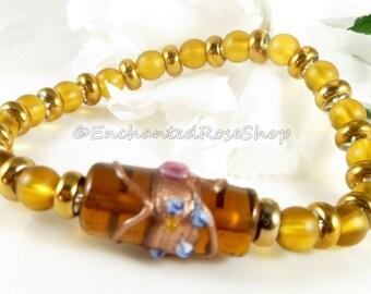 Lampwork Bracelet~ Yellow Bracelet ~ Boho Chic Beaded Bracelet ~ Hippie  Bracelet ~ Bohemian Bracelet ~ Stretch Bracelet ~ Boho Bracelet