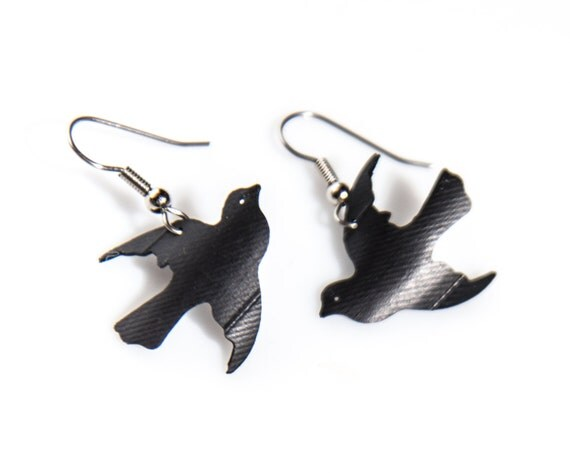 Repurposed Bicycle Rubber Unique Creative Bird Earring Jewelry
