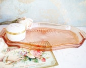 Beautiful Pink Depression Glass Tray With Handles Vintage Decorative Tray Starburst Pattern Vanity Wedding Card Holder Gift For Her