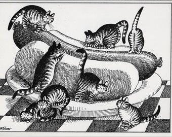 """Kliban Cat, Best Cat Lady Gifts, 1979, """"HOT CATS"""", Crazy Cat Lady, Chubby Cat, Funny Cat Art, Cat Owner Gifts, Cat Wall Art Decor"""
