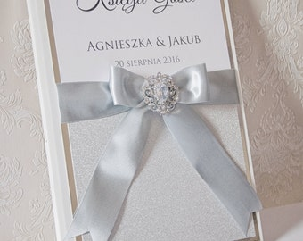 Wedding Guest Book - Personalized - white and silver - brooch / glitter