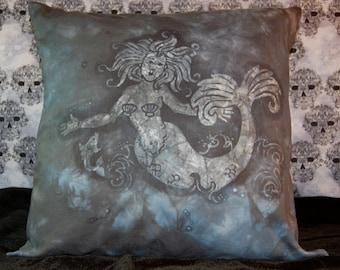 REDUCED 10.00!! Black Batiked Mermaid Pillow Cover
