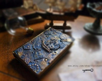 Tardis Doctor Who steampunk sketchbook, one of a kind Tardis Doctor Who polymer art sketchbook, Tardis journal Doctor Who