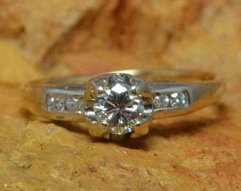 DEADsy LAST GASP SALE 14K Gold Antique Diamond Engagement Ring // White & Yellow Gold Tulip Bulb Solitaire Diamond with Four Accent Diamonds