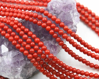 Lot of 5 strands 4mm Bamboo Coral (D) Loose Spacer Beads Round 15.5 inch strand (BD5934)