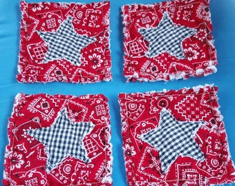 Rag Quilt style coasters/mug rug Primitive and modern