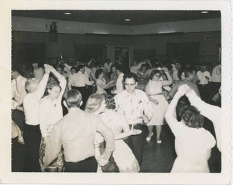 Dance Floor in Full Swing, 1950s-1960s Vintage Polaroid Photo (61449)