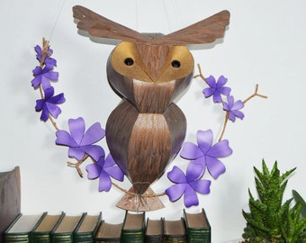 Large Handmade Hoot owl on a floral branch, woodland themed wall art