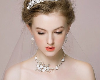 Wedding, Bridal Set, Necklace and Earrings, Style #582