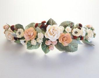 Bridal Hairpiece, Blush Hairpiece, Floral Headpiece, Half Flower Crown, Boho Wedding, Blush Wedding, Floral Hairpiece, Rose Hairpiece