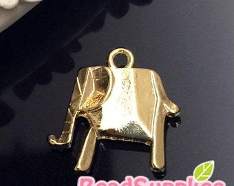 CH-ME-02310-  Nickel Free, Lead free, Gold plated - Origami charm, Elephant, 2 pcs