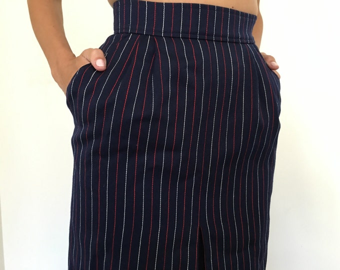 Vintage YSL Navy Pinstripe Pencil Skirt