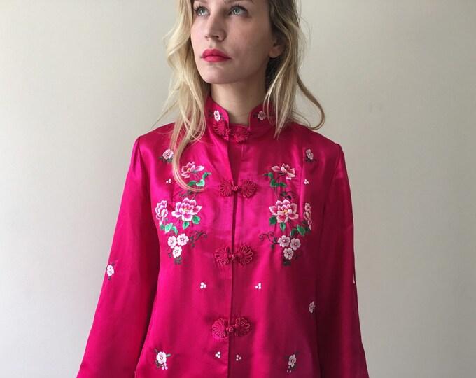 Original Vintage Chinese Silk Jacket Fuschia