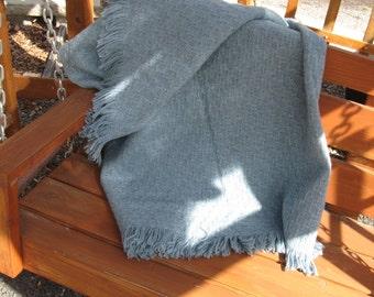 PENDLETON Blue Wool Throw Blanket, 100 percent wool, 66 X 47, Vintage wool blanket, vintage bedding,Lap throw, basket weave pattern