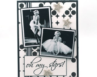 Marilyn Monroe Hollywood glam blank card, black and white, oh my stars note card