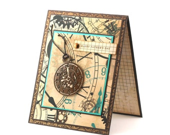 Fathers day card, pocket watch, clocks and gears, vintage style turquoise and brown blank card