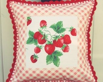 sweet vintage strawberry and pink gingham pillow cover 16x16
