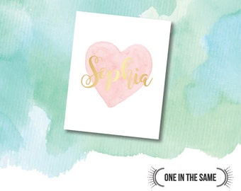 Custom Gold and Watercolor Heart Nursery Print with your Baby's Name - DIGITAL DOWNLOAD - Gold Foil Effect - Modern, Elegant and Fun 8 x 10