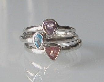 Gemstone Stack Ring- Stack Ring- Midi Ring- Mothers Ring- Children Birthstone Rings- Amethyst Ring- Tourmaline Ring- Blue Topaz Ring