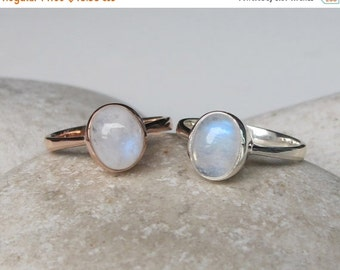 SALE Small Moonstone Ring- Rainbow Moonstone Ring- Stone Ring- Gemstone Ring- June Birthstone Ring- Rainbow Ring- Stacking Ring