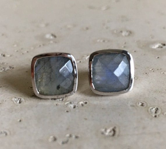 Square Labradorite Earring- Sterling Silver Stud Earring- Square Shape Cushion Earring