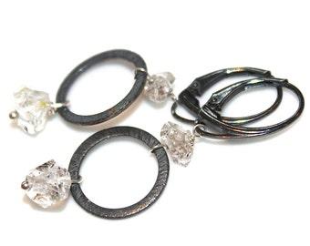 Floating Herkimer Quartz Earrings Delicate Earrings Herkimer Earrings Oxidized Silver Earrings  Everyday Jewelry Circle Earring