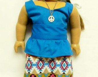 Maxi Skirt With Peplum Blouse For 18 Inch Doll Like The American Girl