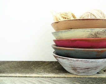 Shabby Chic Storage Bowls - 5 - Soft Neutral Colours