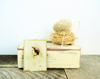 Ivory Wedding Photo Box - Rustic Modern - Keepsake Memory Box