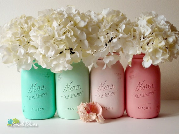 Beach Wedding / Painted Mason Jars / Centerpiece / Vase / Aqua / Pink / Table Decor / Set of 4 Quarts