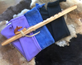 Flute Sock with bird totem pocket-- plain -- Native American Flute -- fleece bag pouch tote bag liner protection