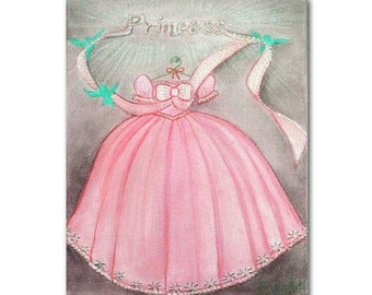 Princess Pink Dress Wall Art  for Girls room Decor, Girl Nursery Decor, Princess Nursery, Kids Art, Nursery Decor, Nursery Art, Kids Decor