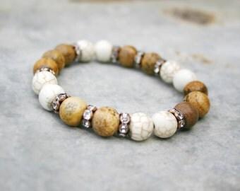 Beaded Bracelet - Yoga Beaded Stretch Bracelet - Magnesite and Picture Jasper