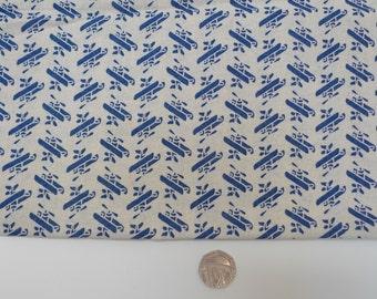 bi plane fabric, linen like fabric, fat quarter, japanese import, blue cream fabric,