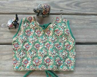 Toddler Girls Beaded Choli Top From India  Boho Gypsy Child