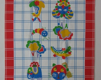 Vintage Linen Tea Towel, Whimsical Cat, Bunny, Alligator, Elephant, Lion, Abstract Animal Print, Primary Colours, Oversize, NOS