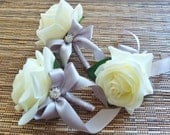 White & Grey Boutonniere, White Rose with silver grey ribbon and rhinestone accent