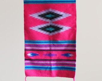Vintage 5' Navajo Native American Striped Rug Hot Pink
