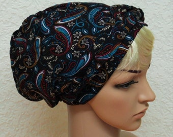Women's full head covering, paisley head scarf, bad hair day head scarf, head snood, elegant tichel, hair covering, head wrap, hair bonnet