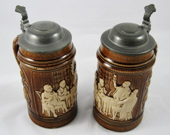 Beer Steins, Dumler & Breiden, Art Stoneware, 4 Available, Pewter Tops, Brown Glaze, 1930s, VGVC