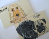 Dog Lead Holder Medium Personalised Pet Portrait Custom Painted up to 2 dogs with 2 hooks