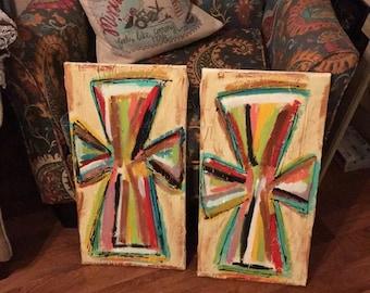 Set of painted crosses