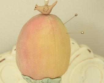 Pin Cushion - Handmade Pincushion - Sewing Supplies - Folk Art Bird - One of a Kind Pin Cushion
