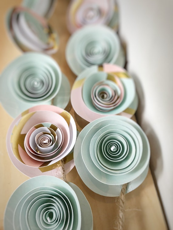Pink and mint baby shower garland, pink and mint color scheme, pink and mint nursery garland, pink and mint paper flowers