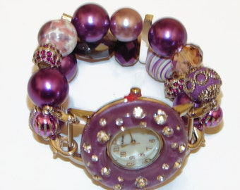 Eclectic Chunky Purple Beaded Watch - Interchangeable Watch - BeadsnTime - Purple Bracelet Watch - Unique Gift - Bunco Prize